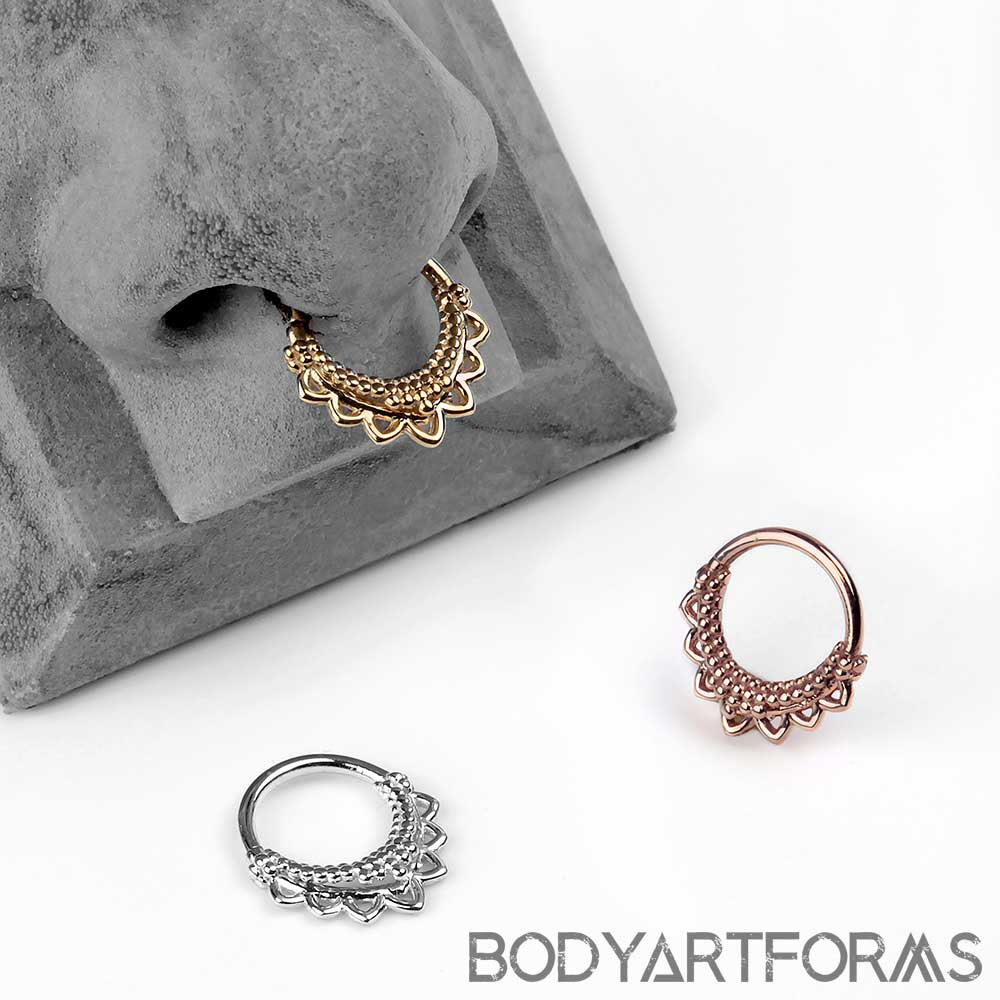 14K Gold Temple Seamless Ring