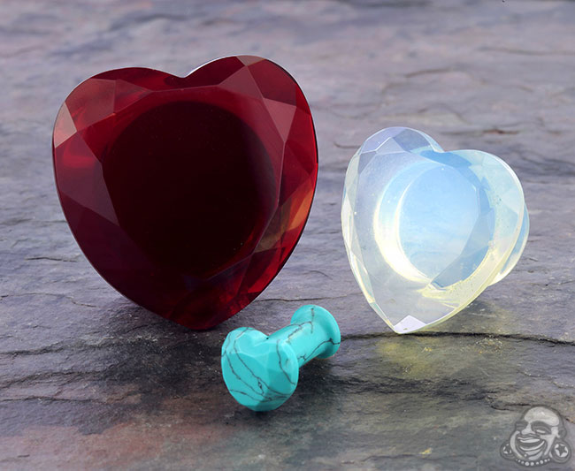 Faceted Heart Plugs