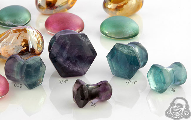 Fluorite Faceted Hexagon Plugs