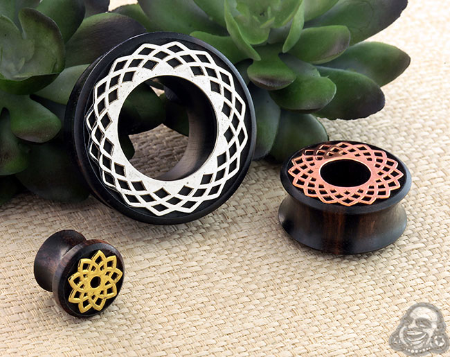Ebony Wood and Metal Mandala Plugs