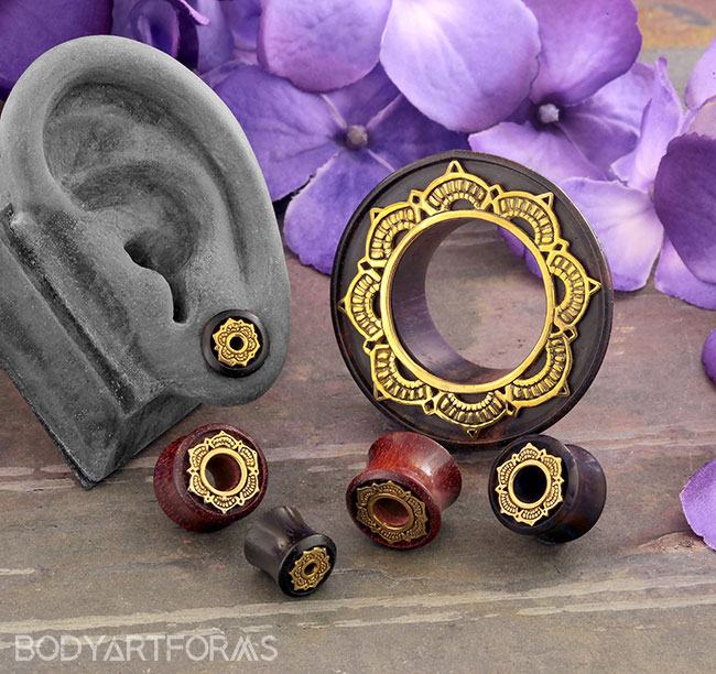Wood and Metal Lotus Plugs