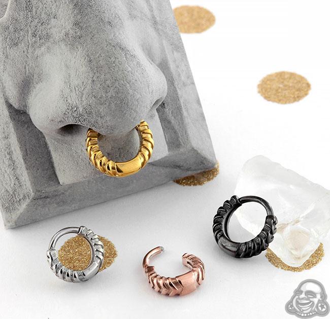 Chevronelle 14g Stainless Steel Septum Clicker Nose Ring