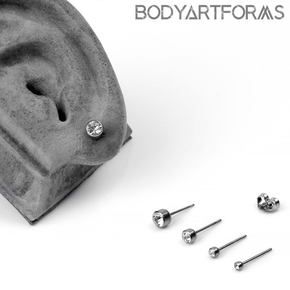 Titanium Bezel Set CZ Stud Earrings