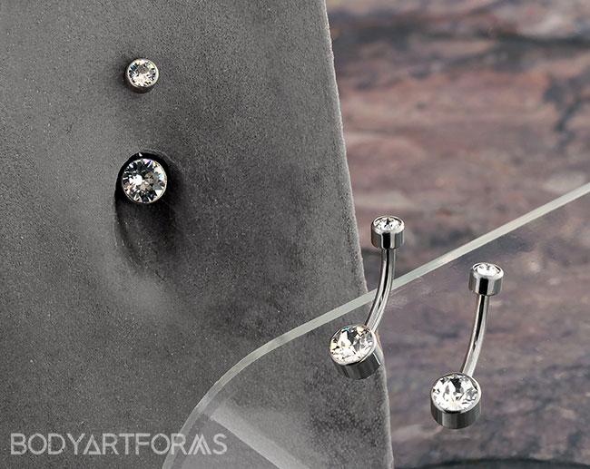 Bezel Set Implant Grade Titanium Navel Belly Button Ring