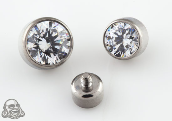 Internally Threaded Titanium Bezel Set Gem End (Clear Cz)