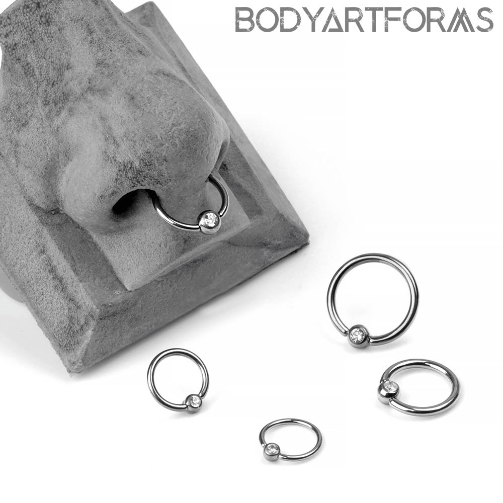 Titanium Captive Ring With A Gemmed Bead