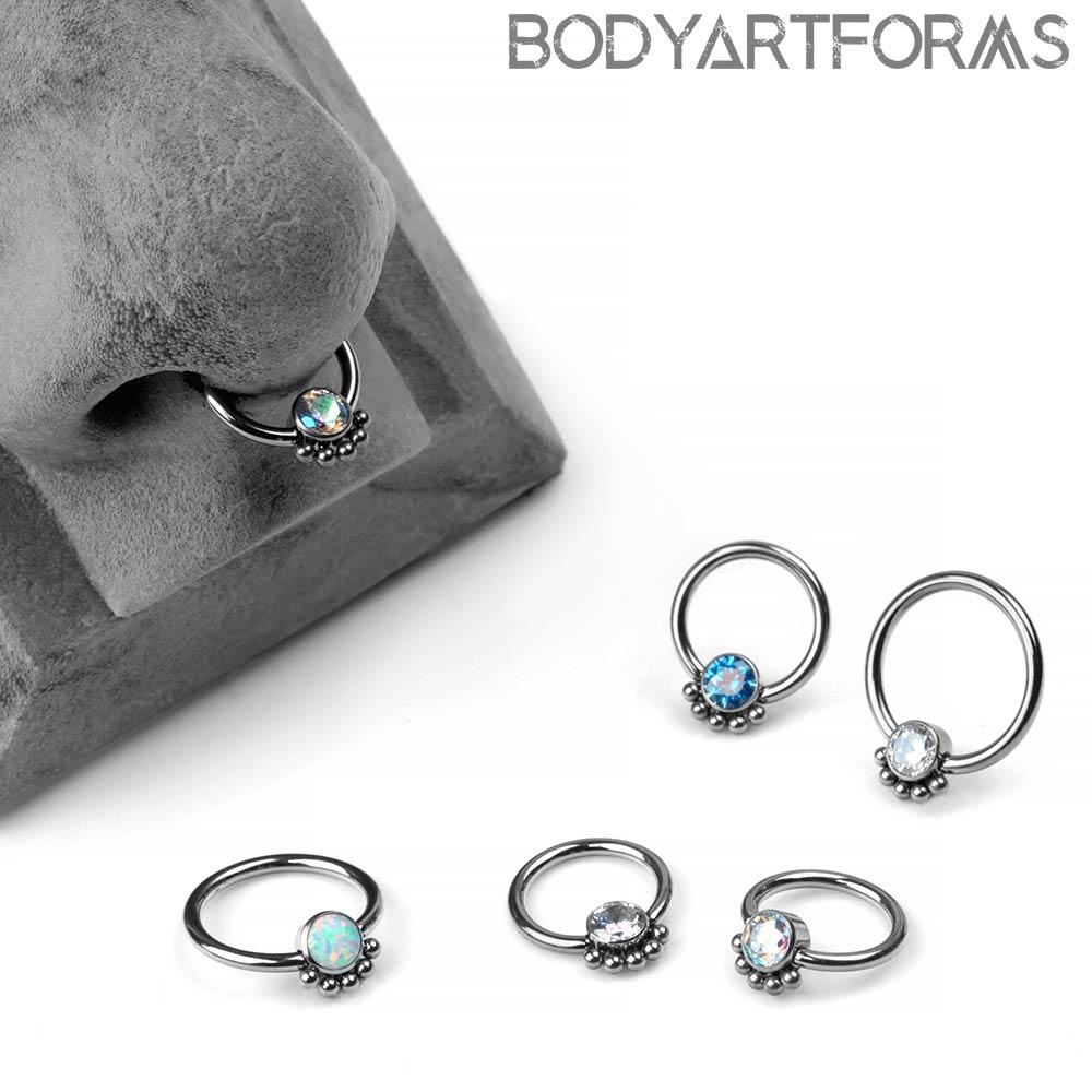 Titanium Captive Bead Ring With A Beaded Bezel Set Gem