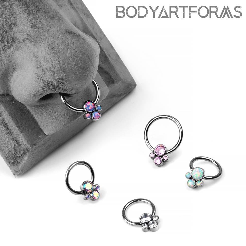 Titanium Captive Ring With Four Cluster Bead
