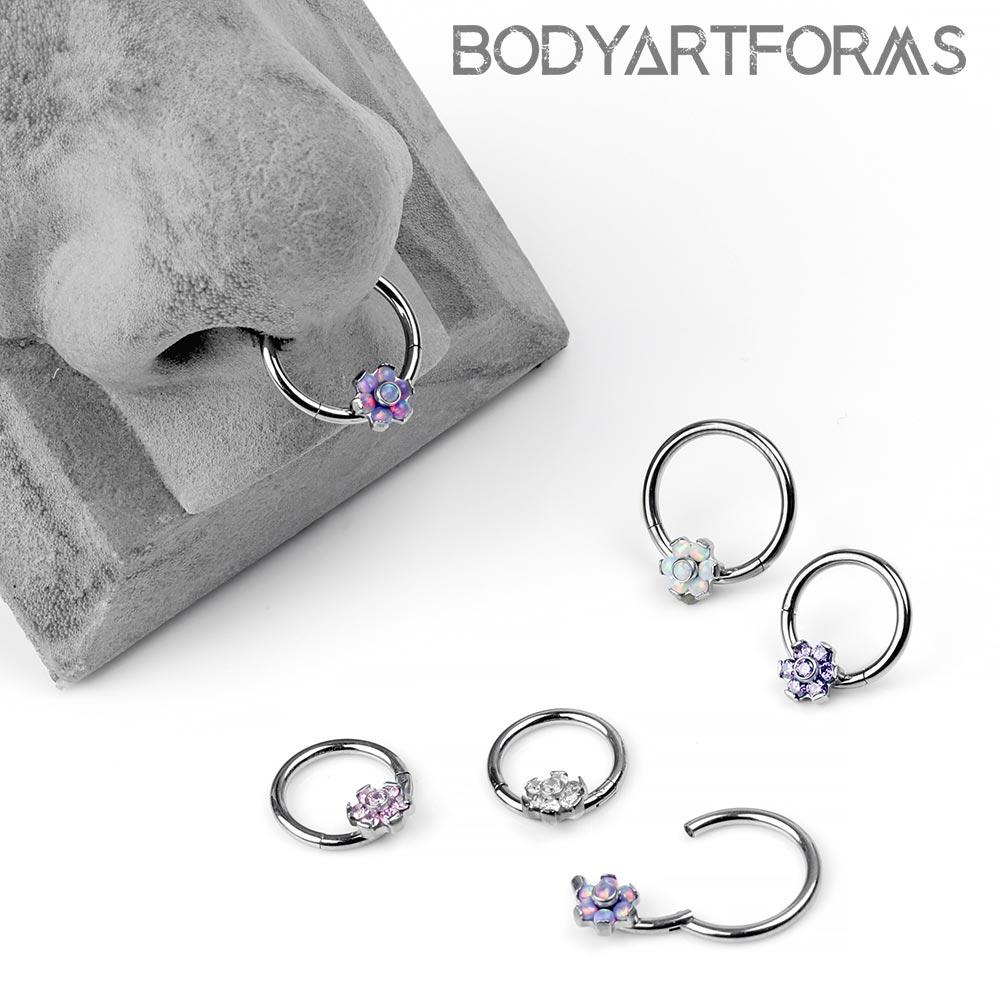 Titanium Flower Clicker Ring