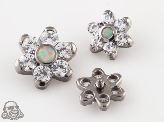 Internally Threaded Titanium Gemmed Flower End (Faceted White Opal/Clear Cz)