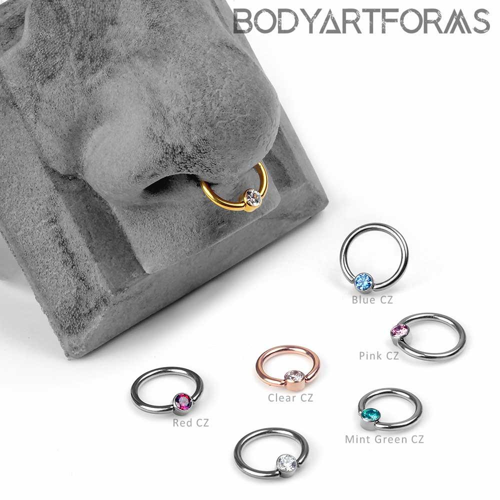 Titanium Gem Captive Bead Ring