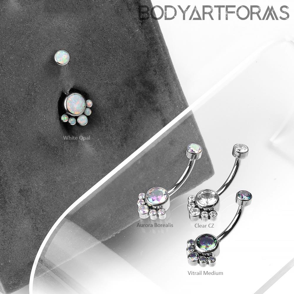 Titanium Gem and Opal Cluster Navel