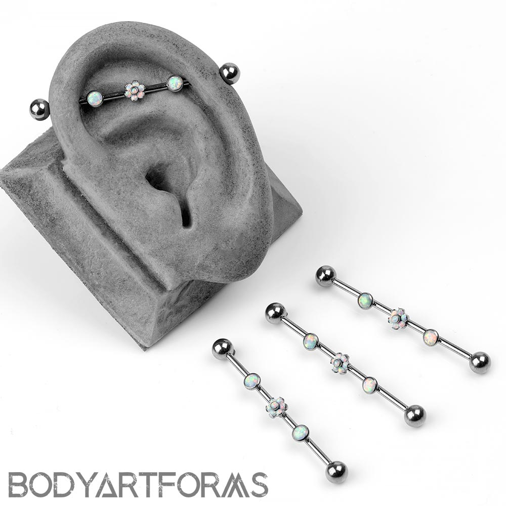 Titanium Industrial Barbell With Flower and Bezel Set Gems