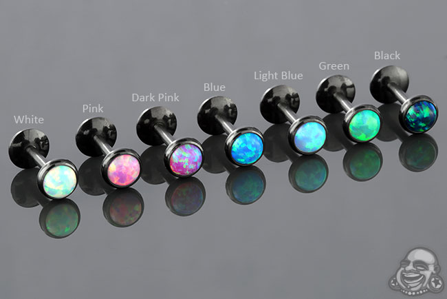 Black Coat Titanium Labret with Synthetic Opal