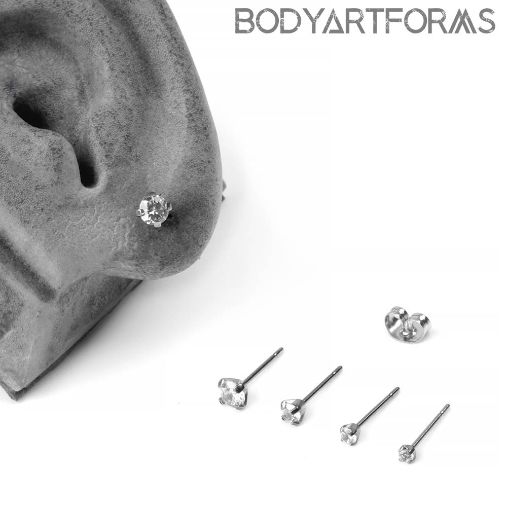 Titanium Prong Set CZ Stud Earrings