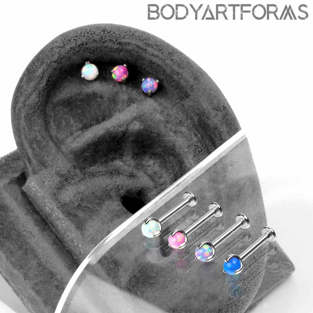 Titanium and Prong Set Synthetic White Opal Labret