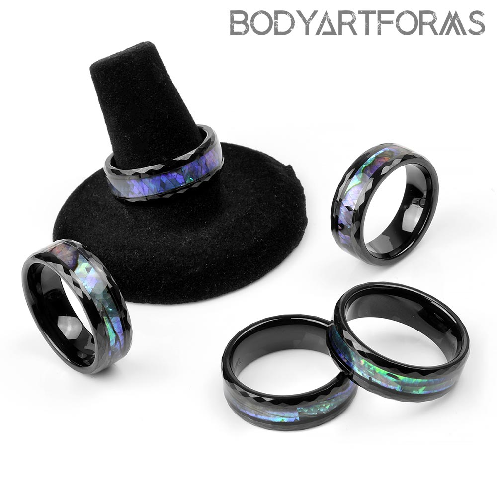 Tungsten and Abalone Band Rings