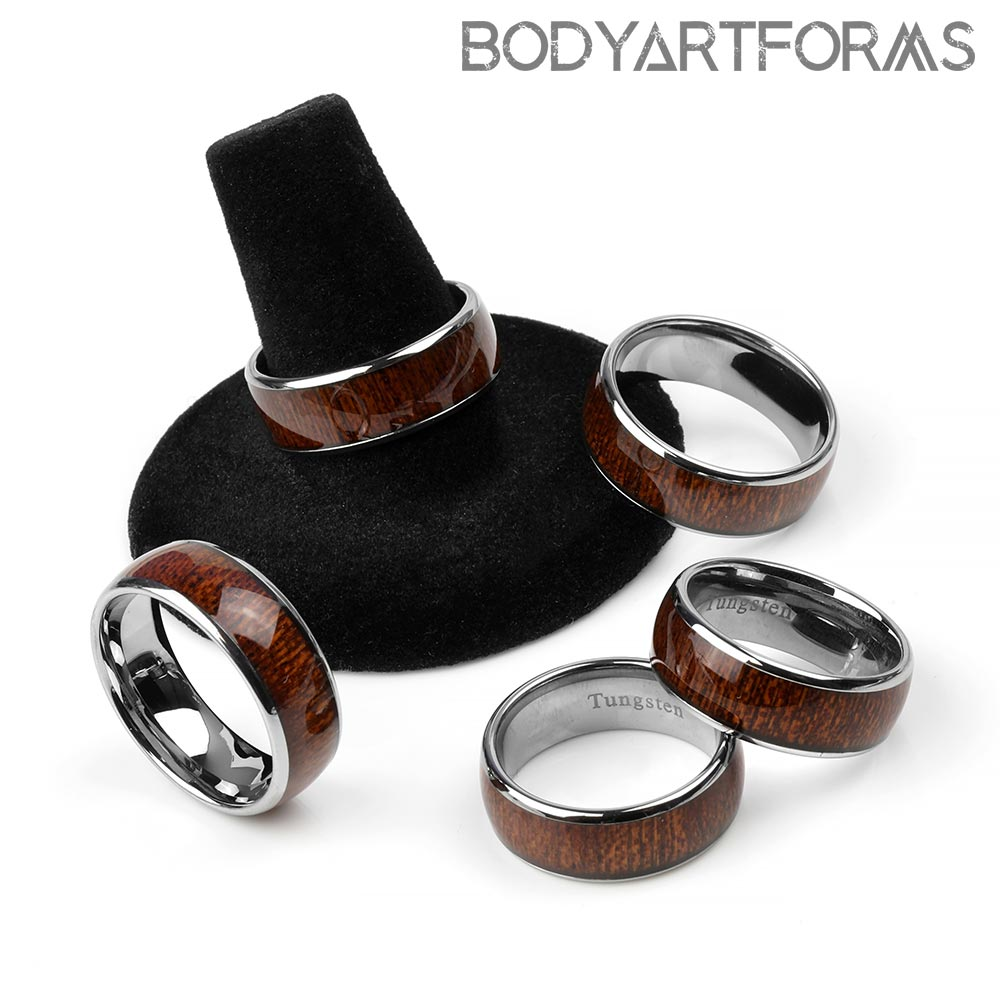 Tungsten and Wood Band Rings