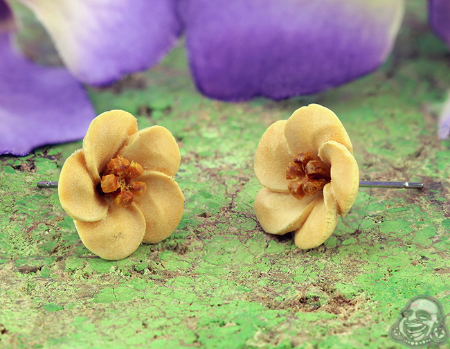 Carved Wood Front Earrings