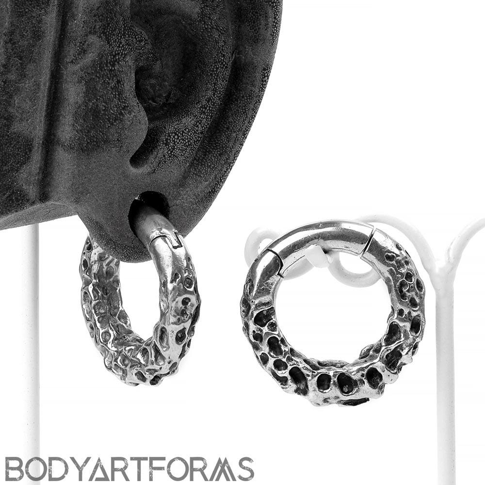 White Brass Textured Hoops
