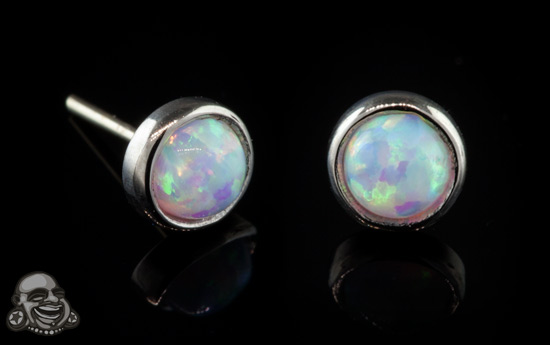 14k White Gold Threadless Opal End