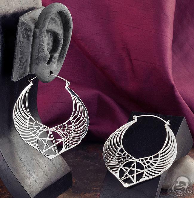 Sterling Silver Winged Pentagram Earrings