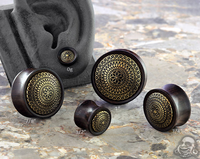 Ebony Wood and Brass Lattice Plugs