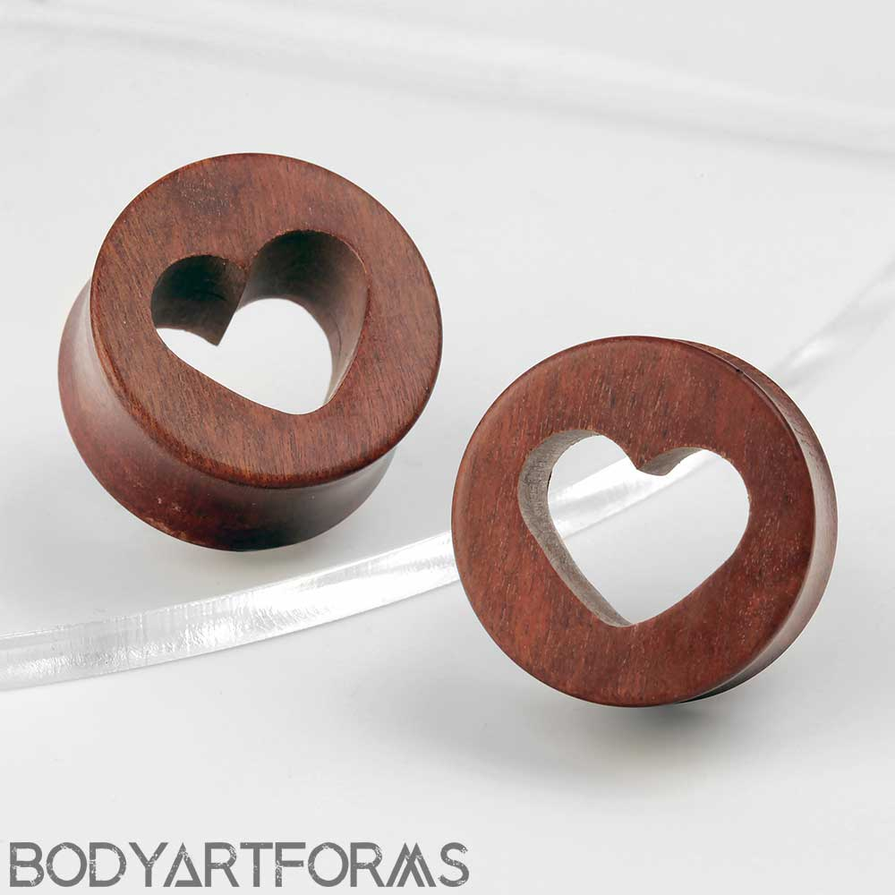 Pink Ivory Wood Heart Cut-Out Plugs