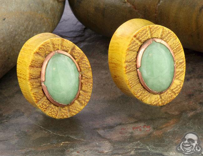 Osage Orange Plugs with Jade Inlays