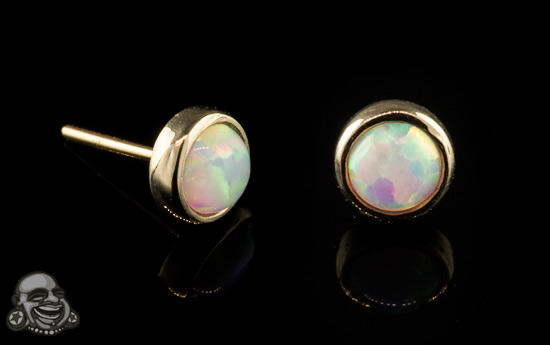 14k Yellow Gold Threadless Opal End